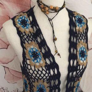 Other - Crochet Flower Power Long Fringe Duster Vest
